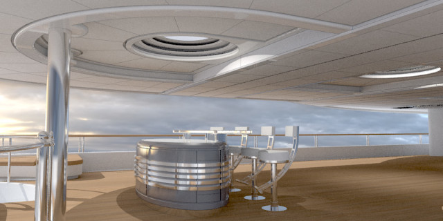 Silver Yacht Interior Rendering
